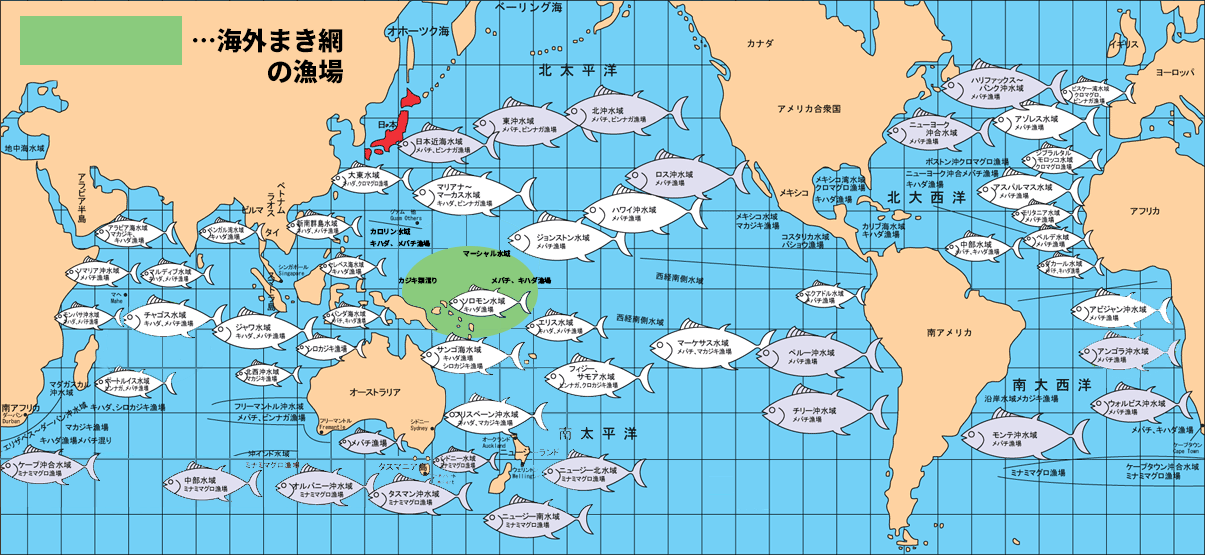 海外まき網漁業漁場